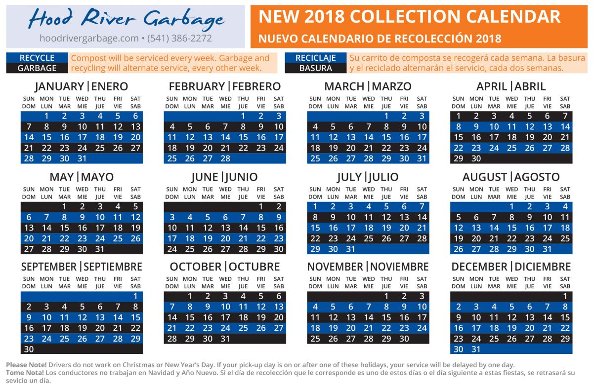 2018 City of Hood River Calendar