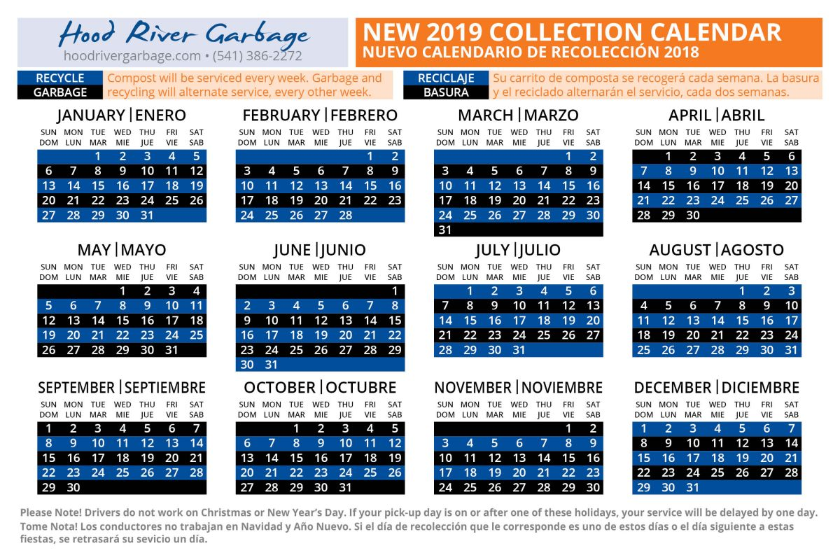 2019 Collection Calendar